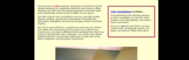 Portfolio screenshot of alexandria colorworks painting company in Alexandria, VA