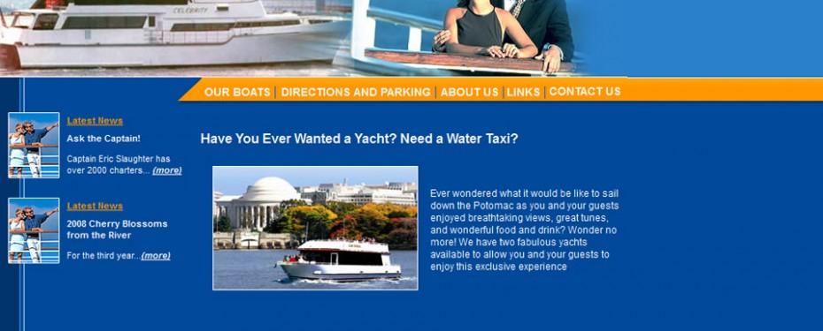 Yacht tour company in washington dc portfolio screenshot