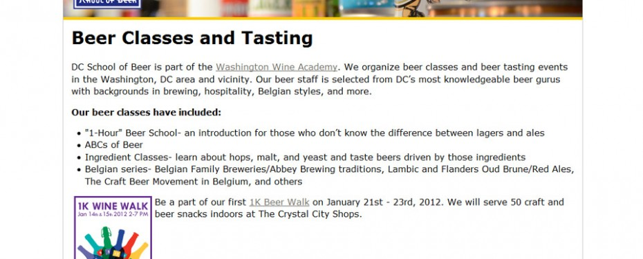 DC School of beer website design portfolio screenshot
