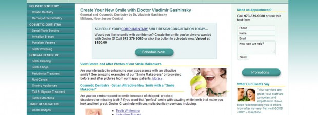 portfolio screenshot of Dr. G dentist website in NJ by 360 Degrees