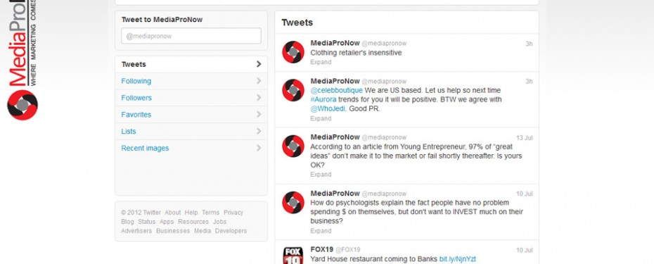 portfolio screenshot of create and manage twitter for mediapronow in troy, mi