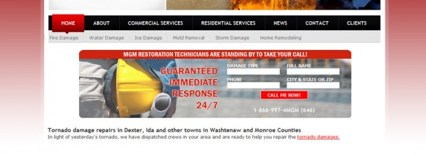 Portfolio screenshot for insurance restoration website design in michigan