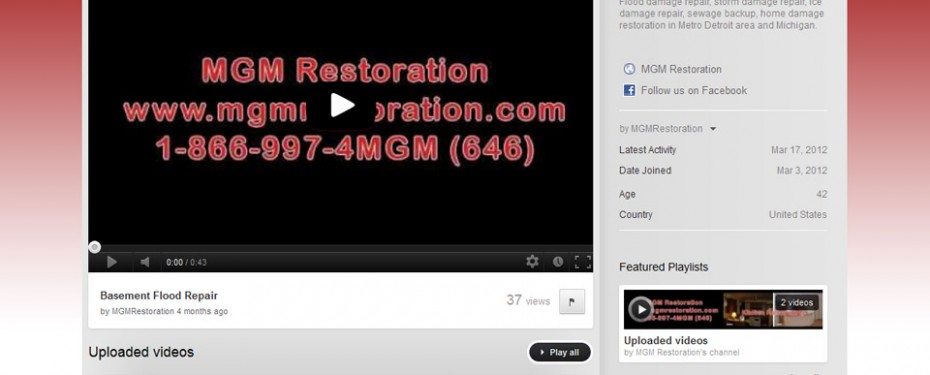 portfolio screenshot of youtube page for mgm restoration in troy, mi