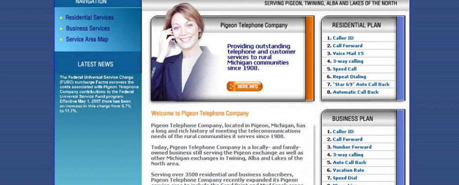 portfolio screenshot of website design for pigeon telephone in michigan