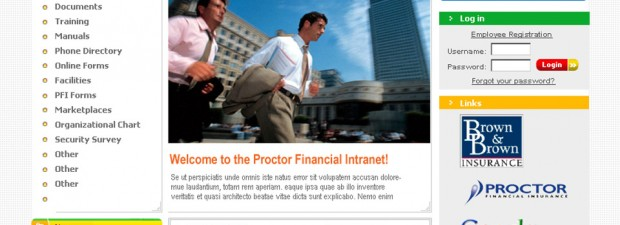 portfolio screenshot of website design for proctor financial in troy mi