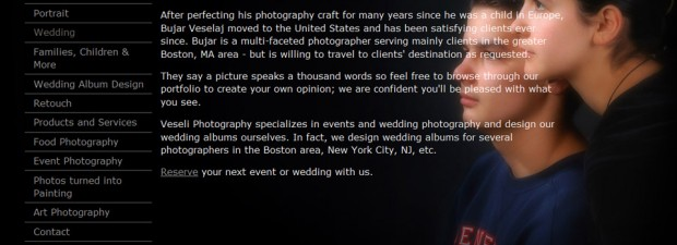 website design portfolio screenshot of veseli photo in boston ma