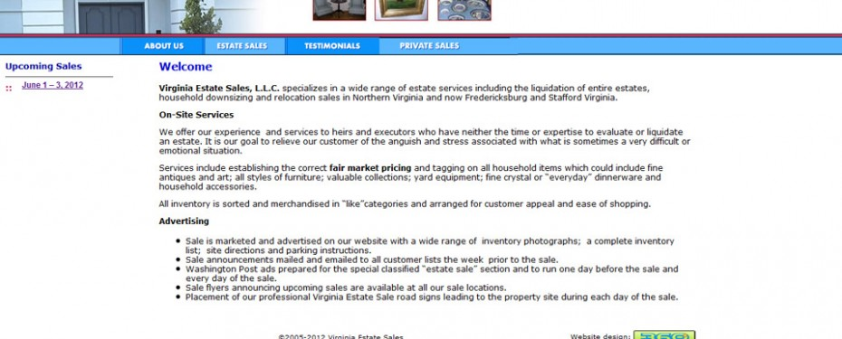 website design portfolio screenshot of virginia estate sales
