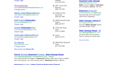 basement water damage repair detroit SERP results by SEO compan