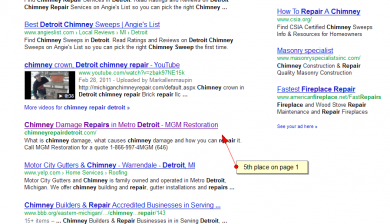 chimney damage repair detroit SERP results by SEO compan