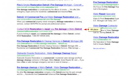 commercial fire damage restoration detroit SERP results by SEO compan