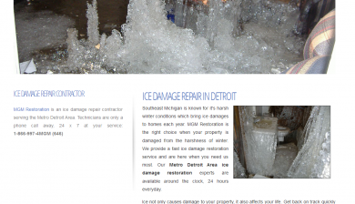 Screenshot of website design for icedamagerepair.com in Detroit