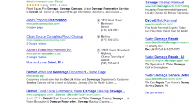 sewage damage repair detroit SERP results by SEO compan