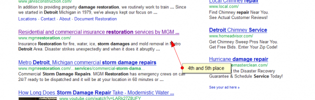 storm damage repair detroit SERP results by SEO company 360 Degrees.