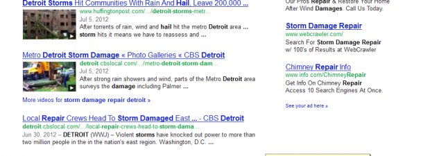 storm damage repair detroit SERP results by SEO compan