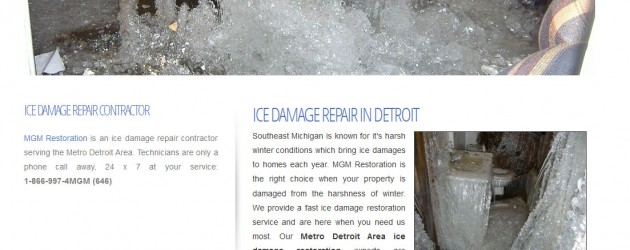 screenshot of ice damage repair website in troy, mi