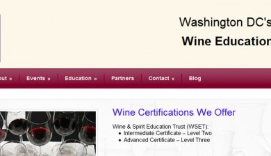 Screenshot of redesigned website for Washington Wine Academy