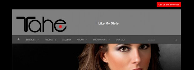 Cropped screenshot of website design for Tahe Salon in Southfield