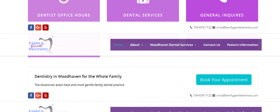 screenshot of website for family gentle dentists created by 360 Degrees.